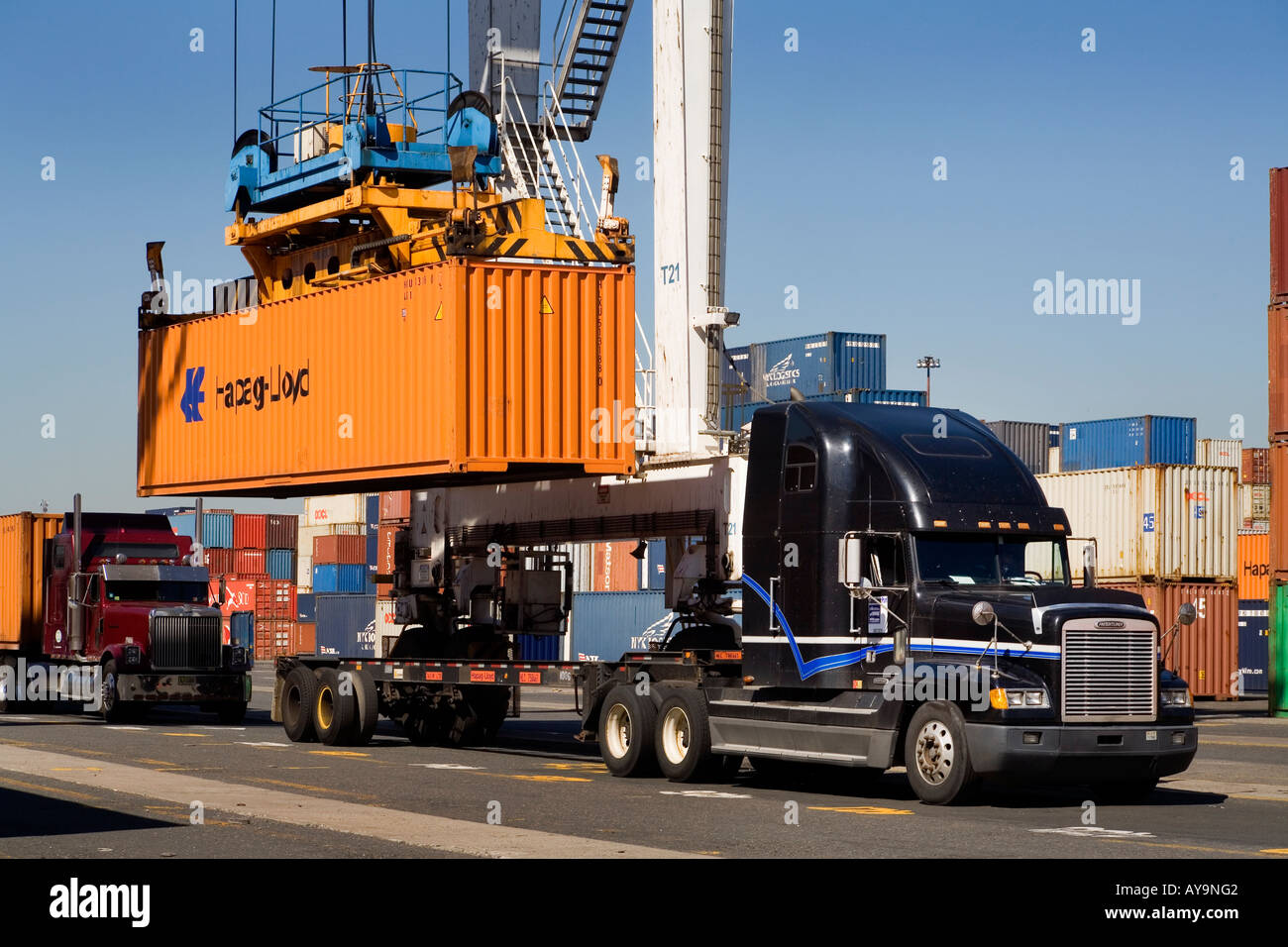 Intermodal Container Transfer Facility Stock Photos