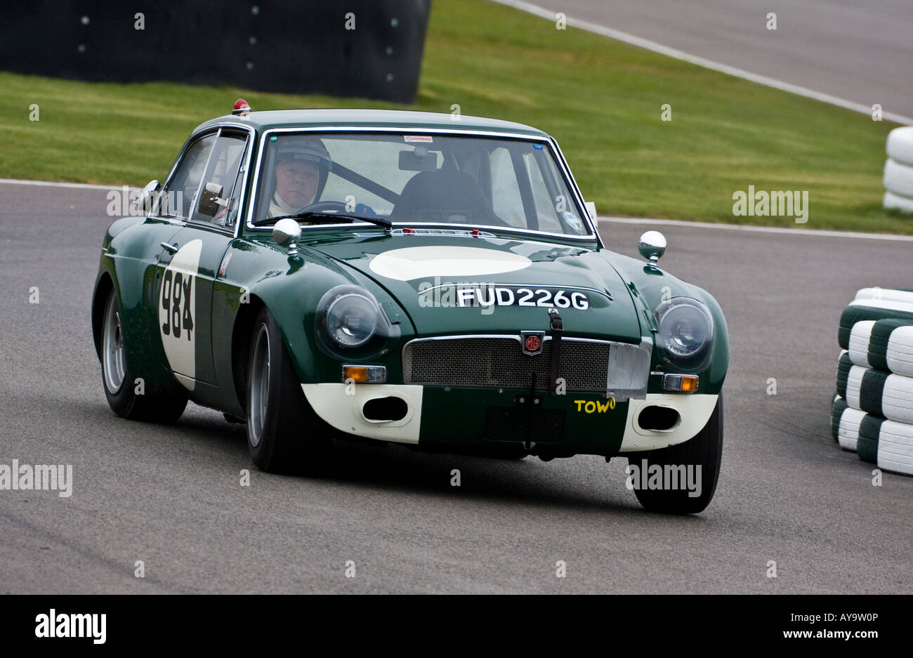 1969 MGC GT Sebring driven by Barrie Williams at the GRRC Sprint at Goodwood, Sussex, UK. Stock Photo