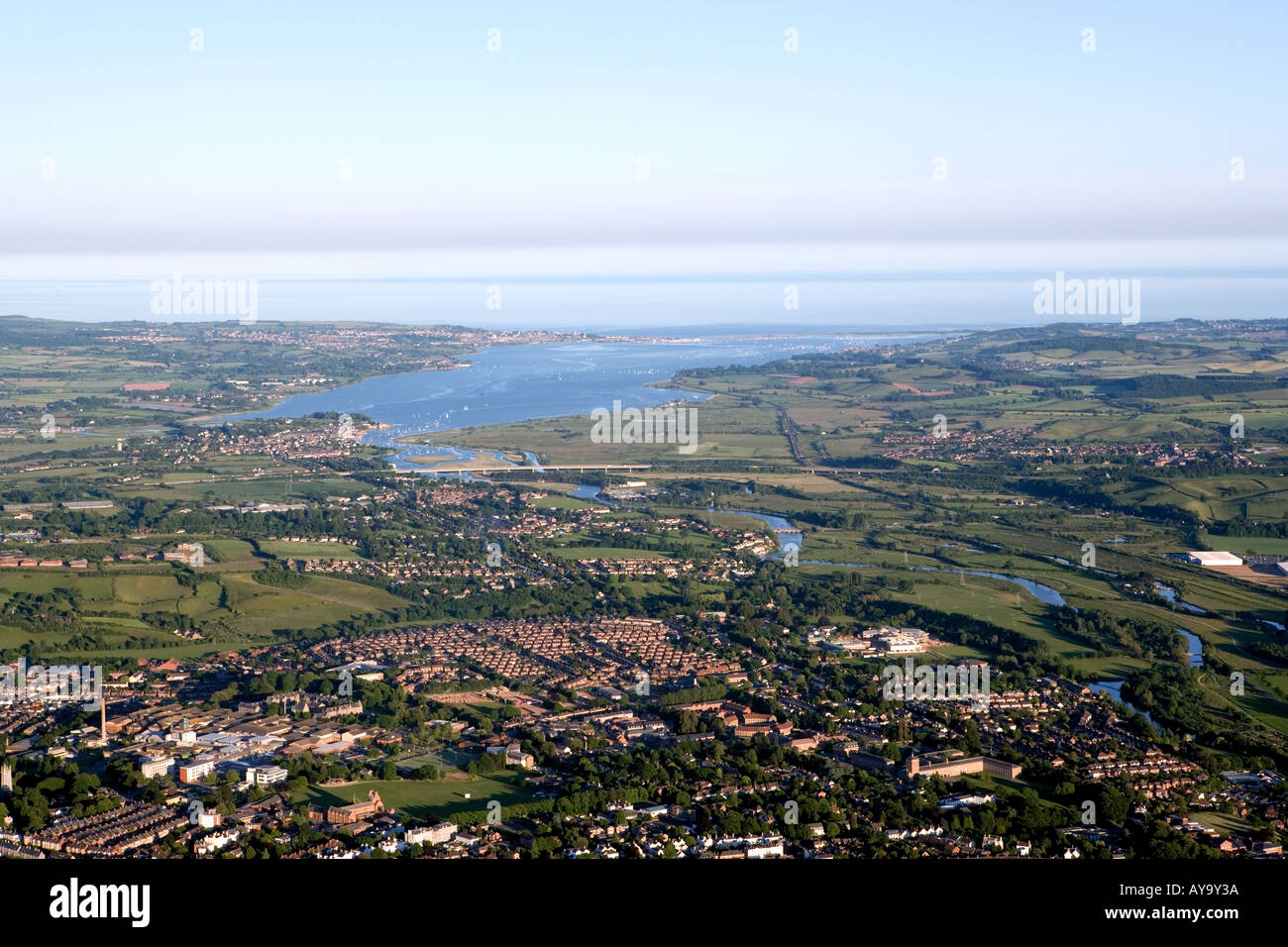 Aerial view of the City of Exeter Exmouth and Exe Estuary from a hot air balloon - Stock Image