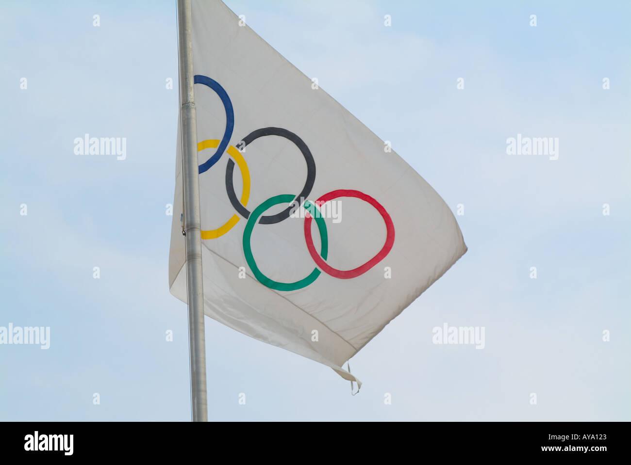 Greece Athens Olympic Flag - Stock Image