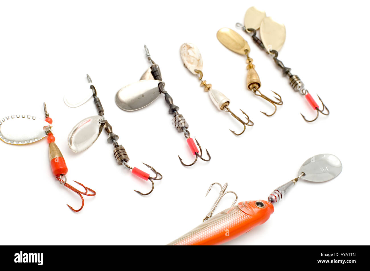 object on white minnow with fish hook - Stock Image