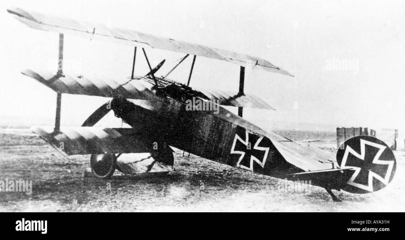 Red Baron Fokker DrI Triplane flown by Manfred von Richtofen in March 1918 one month before his death Stock Photo