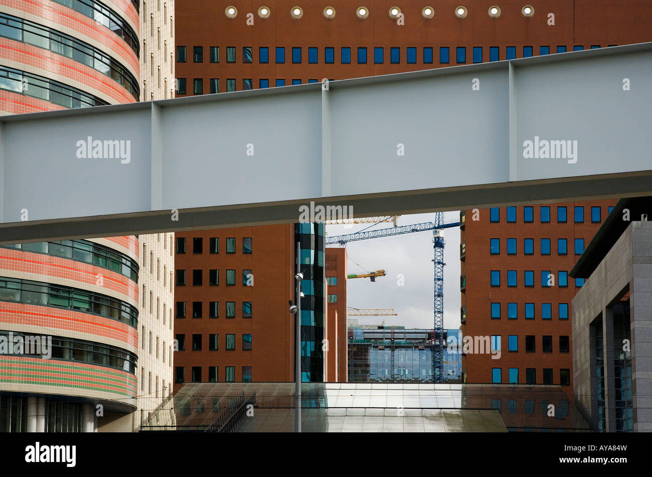 Left a buidling of ABN AMRO The public prosecutor s office of rotterdam. renovating area of rotterdam Stock Photo