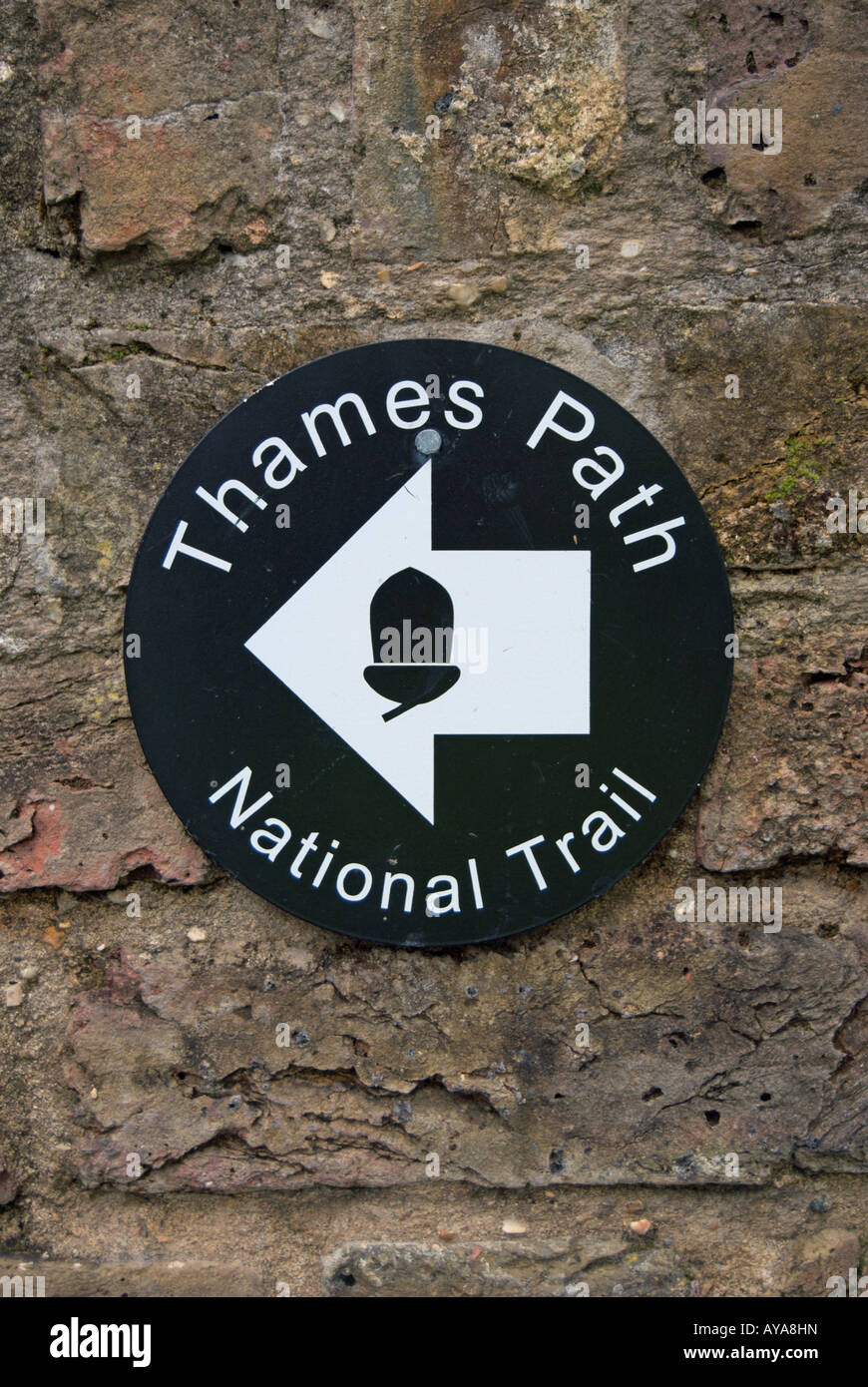 sign for the thames path, on the river thames, and national trail, in twickenham, middlesex, near london, england - Stock Image