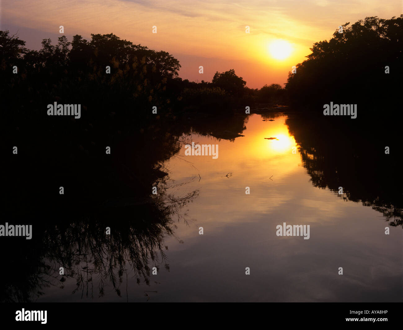 Sabie river at dusk near Skukuza Kruger National Park Transvaal South Africa - Stock Image
