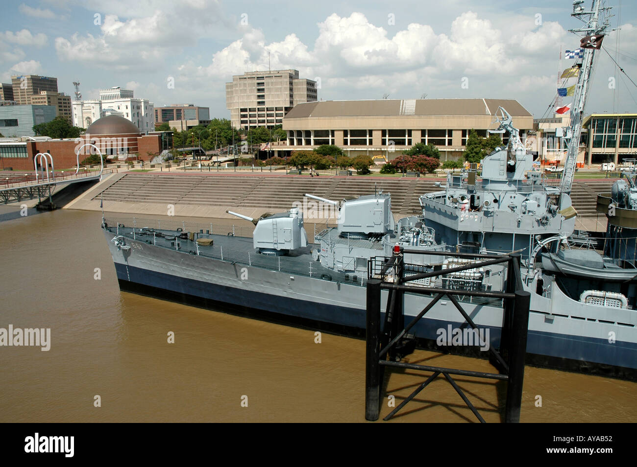 Baton Rouge LA Louisiana USS Kidd Riverside walk - Stock Image