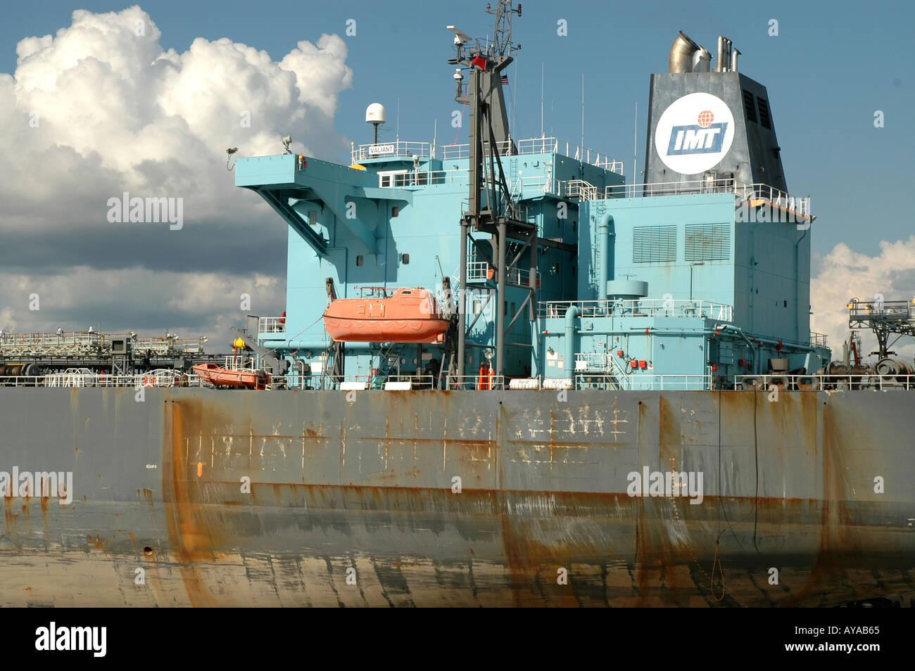 Shipping large Oil Tanker at dock Louisiana - Stock Image