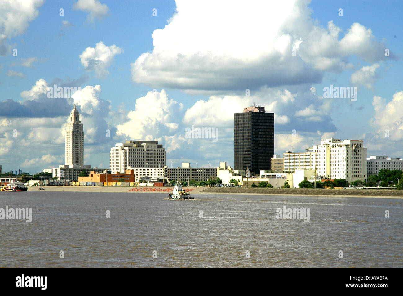 Baton Rouge LA Louisiana Skyline as seen from Mississippi River - Stock Image