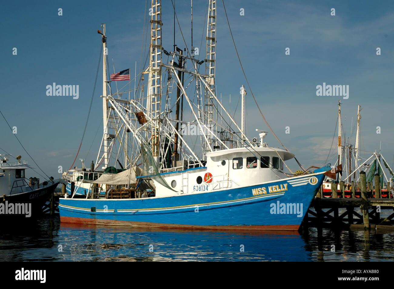 Biloxi MS Mississippi Shrimp Trawler commercial shrimping boat - Stock Image