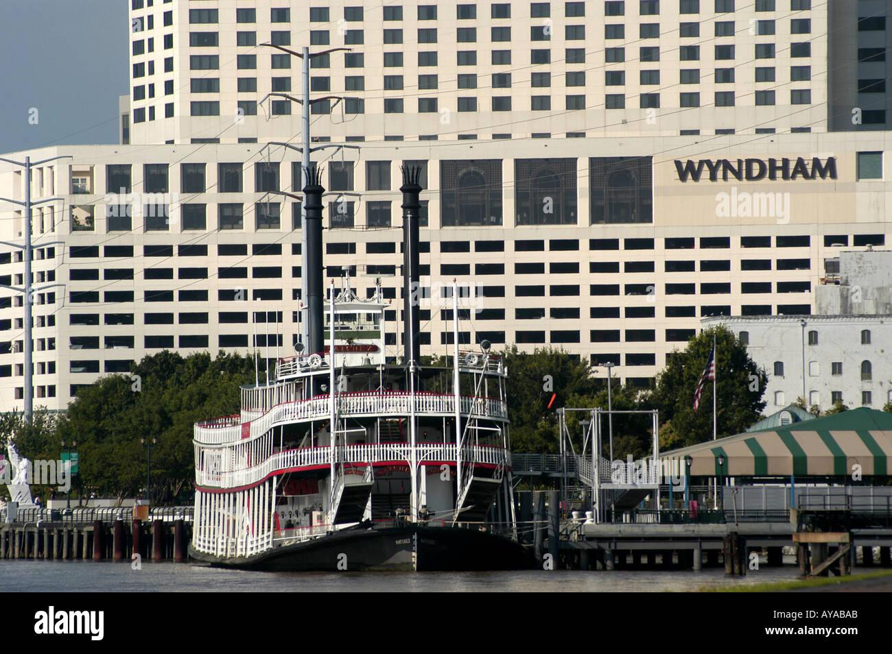 New Orleans LA Louisiana River Walk Steamboat - Stock Image