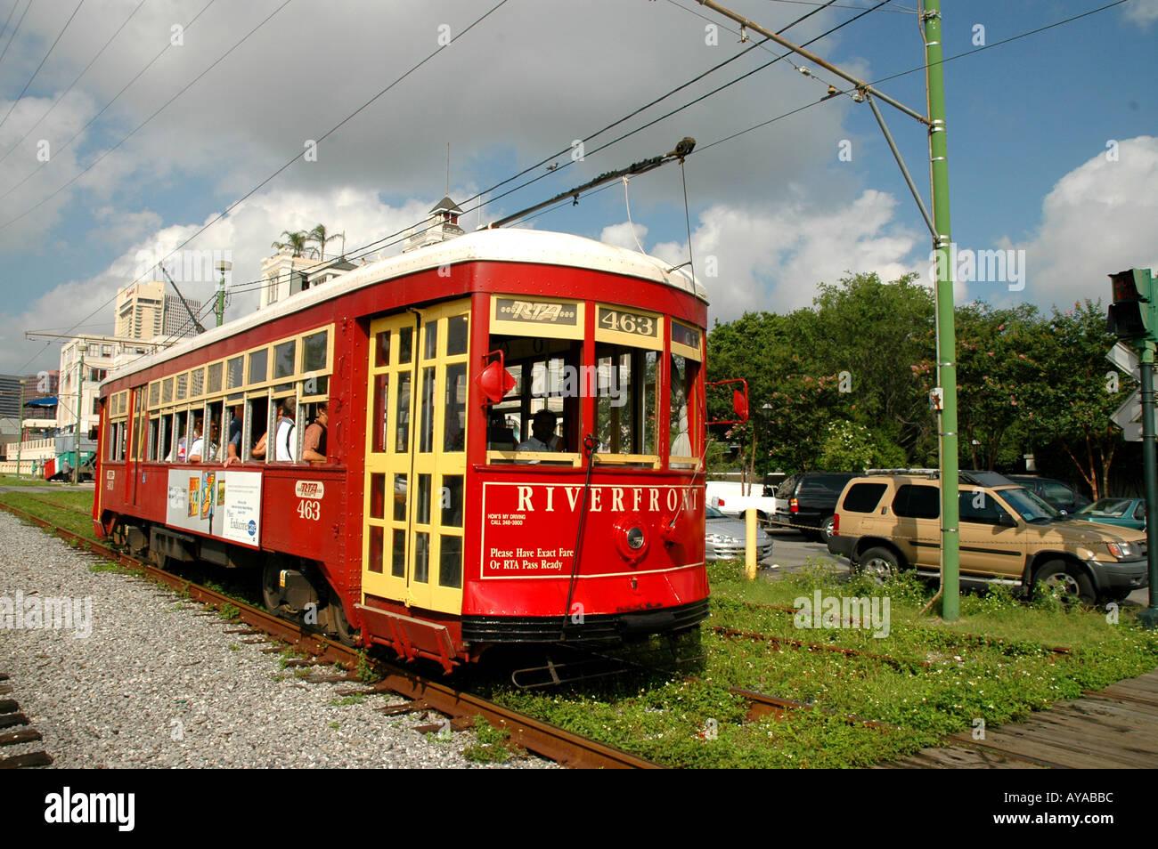 New Orleans LA Louisiana Street Car trolley car city urban transportation - Stock Image