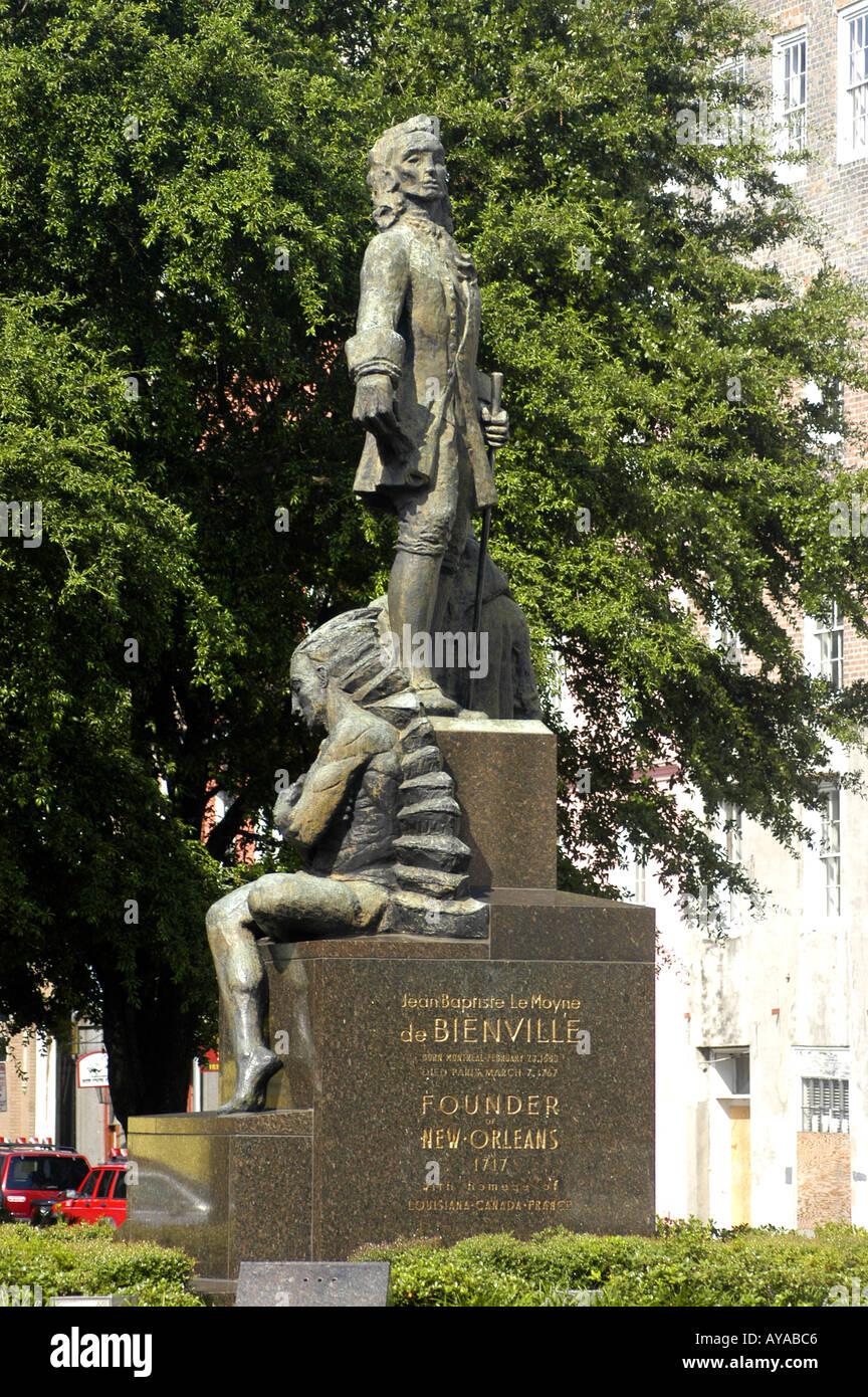 New Orleans LA Louisiana French Quarter Bienville Statue - Stock Image