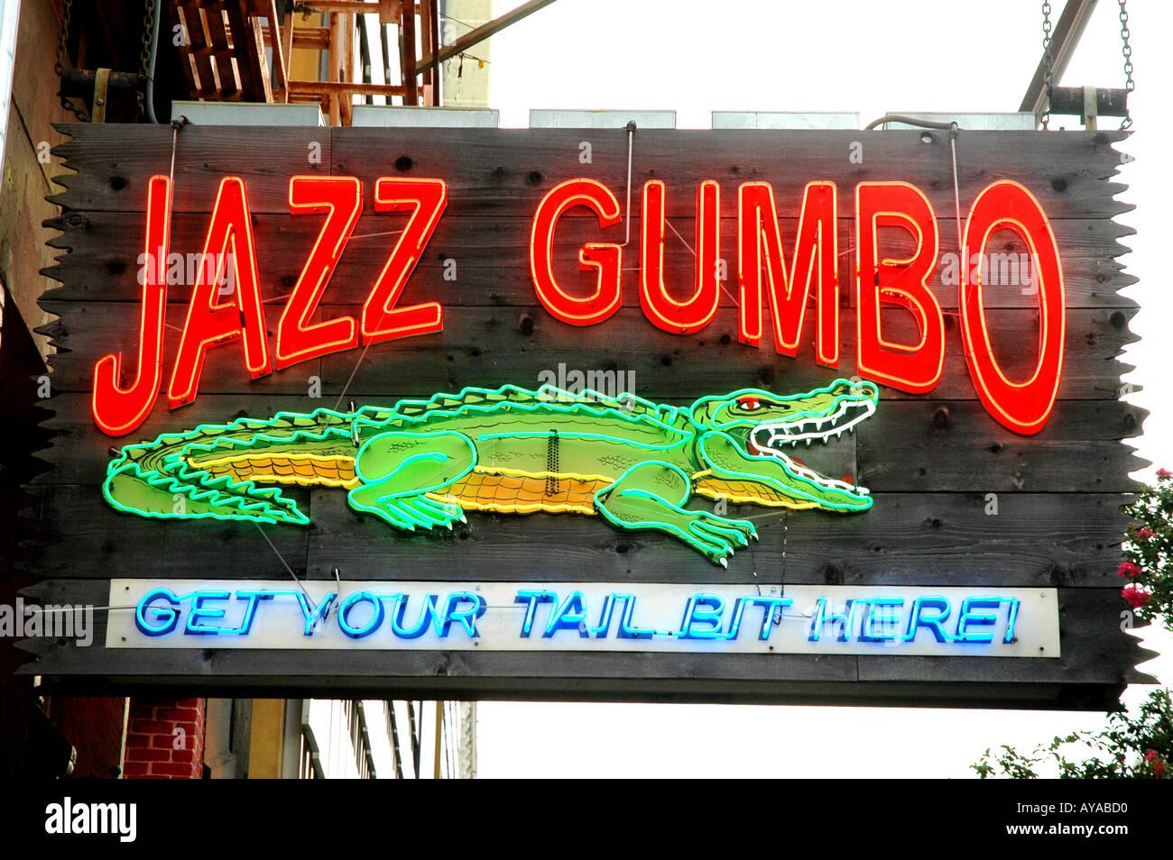 New Orleans LA Louisiana Jazz Gumbo sign - Stock Image