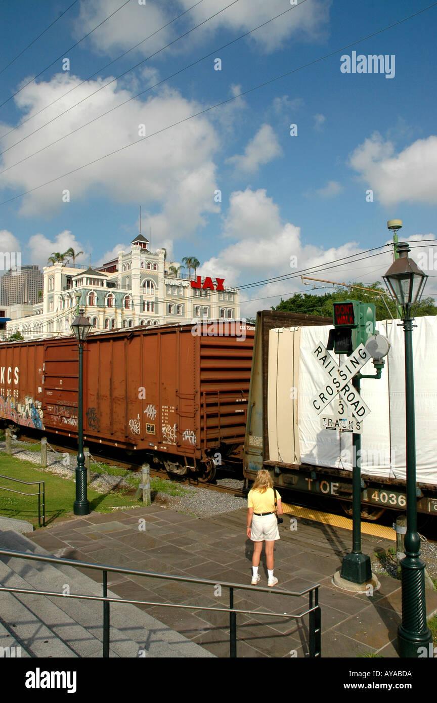 New Orleans LA Louisiana railroad crossing - Stock Image