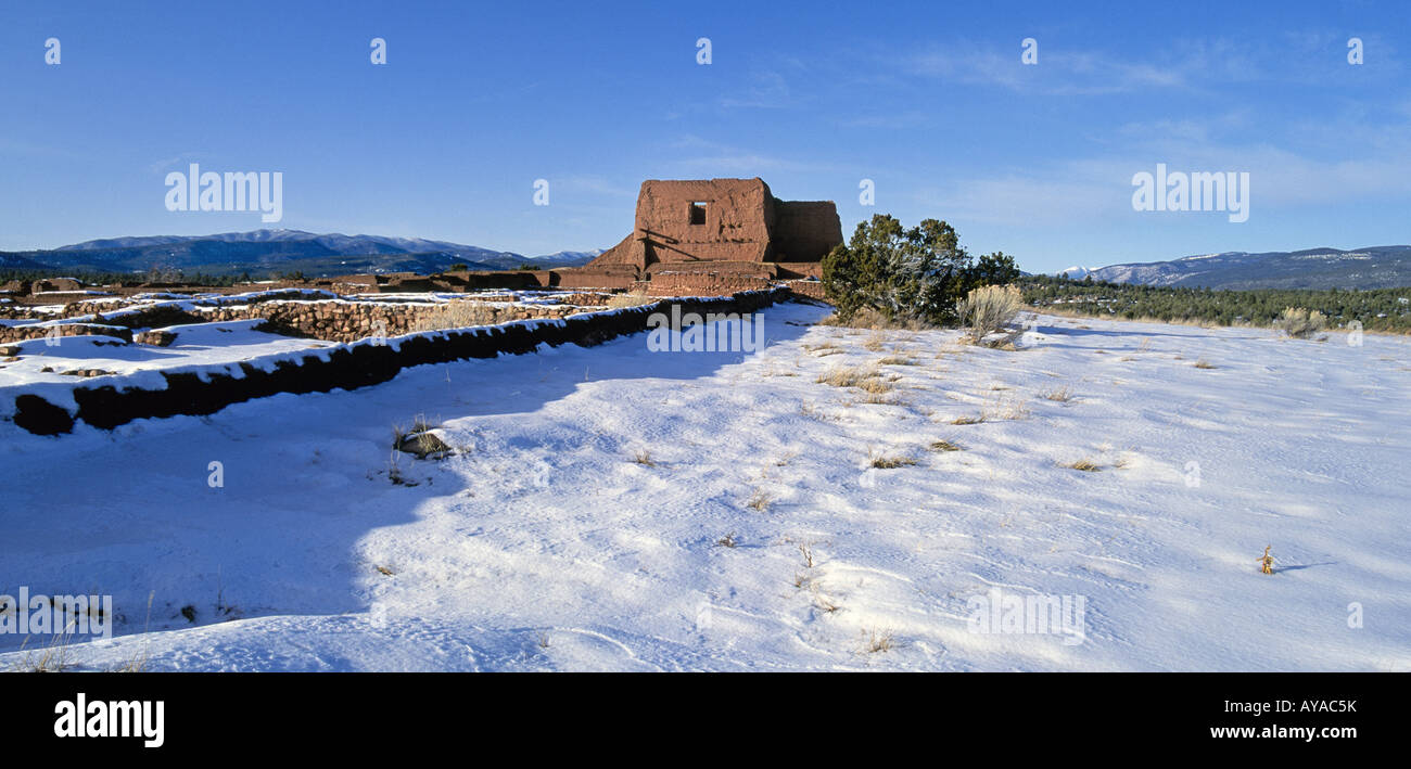 A view of the old Spanish Mission and an Anasazi Indian town at Pecos National Historical Park - Stock Image