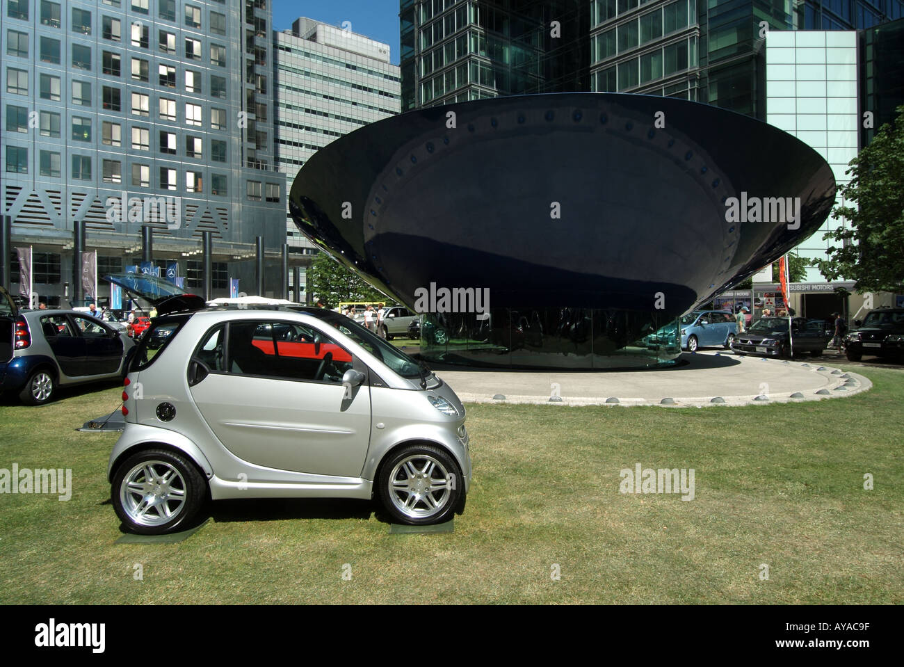 London Canary Wharf Motor Expo car motor show organised by Daily Telegraph Daimler Chrysler Smart car Canada Tower Stock Photo