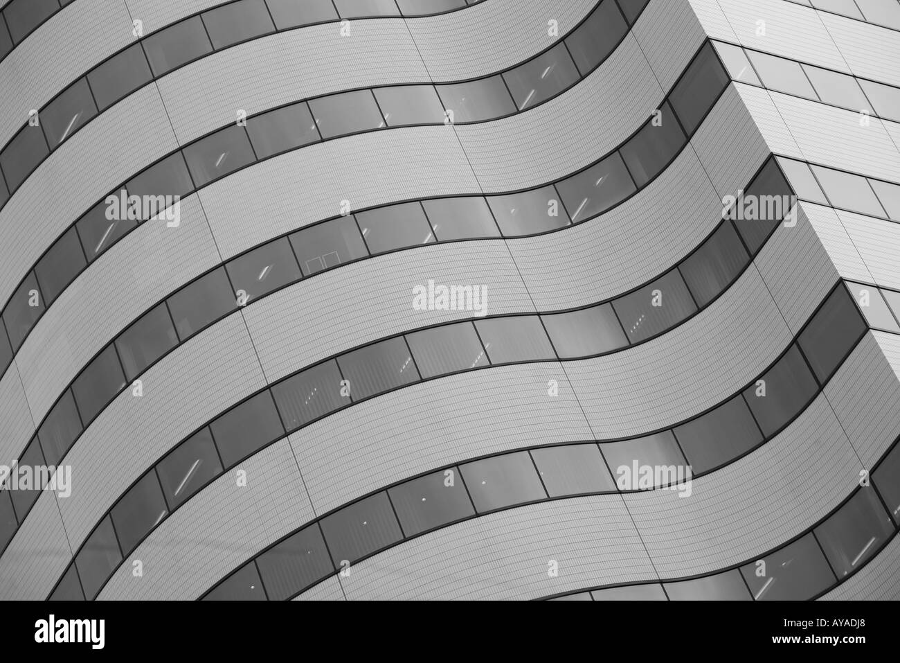 Asia Tokyo Japan Detail of curved building exterior New Yurakucho Building in Ginza District Stock Photo