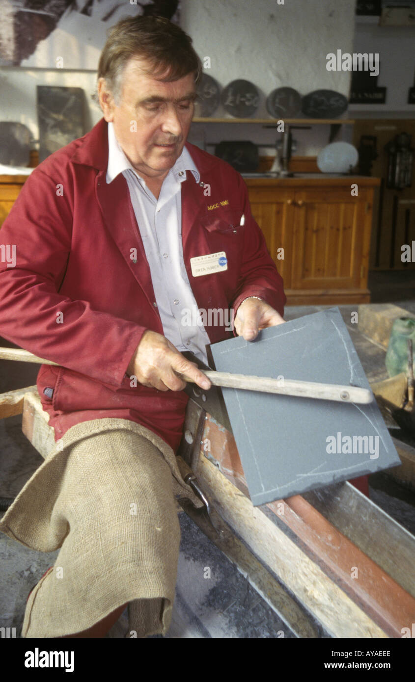 Former Quarryman marking slate Welsh Slate Museum Llanberis Gwynedd Wales UK DW1  - Stock Image