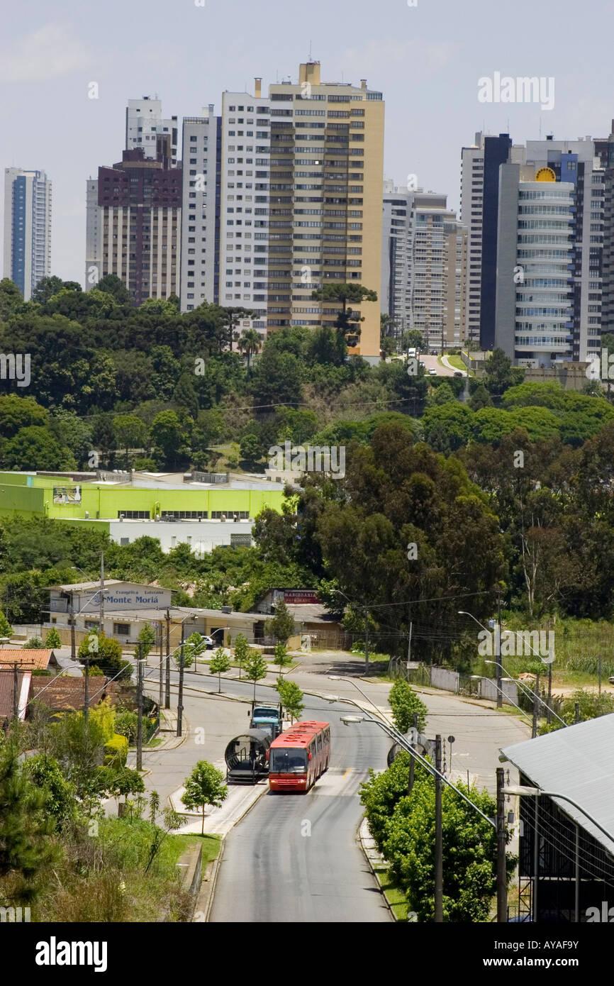 Cityscape of Curitiba - Public bus - Stock Image