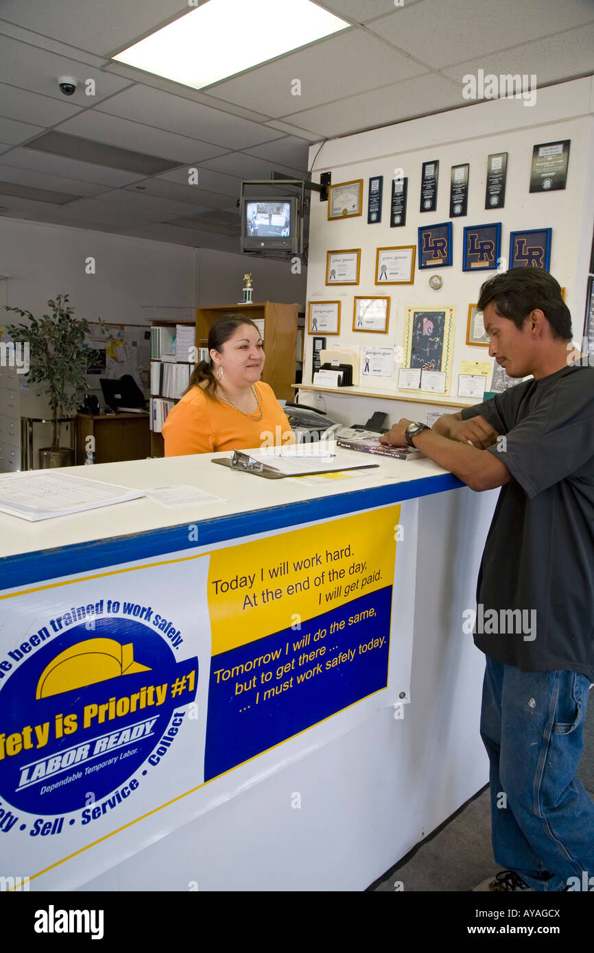 Phoenix Arizona A worker looks for a job at Labor Ready a temporary labor agency - Stock Image
