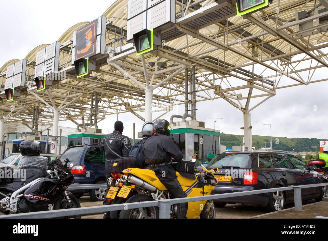Motorists And Motorcyclists Queue Up To Buy Tickets For Eurotunnel