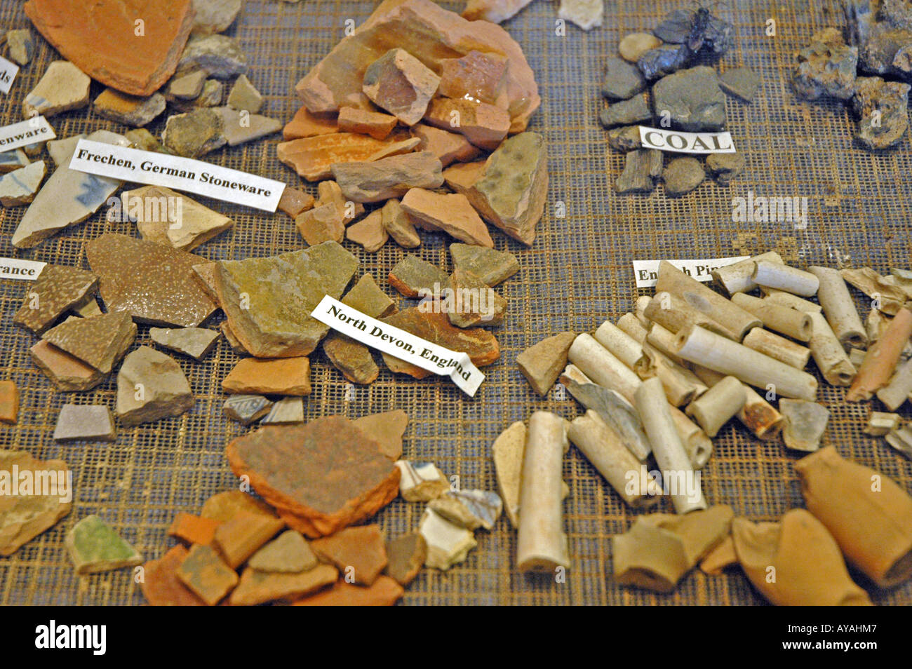 Historic Jamestowne Original Jamestown Settlement archaeological excavation English French and German  pipes pottery - Stock Image