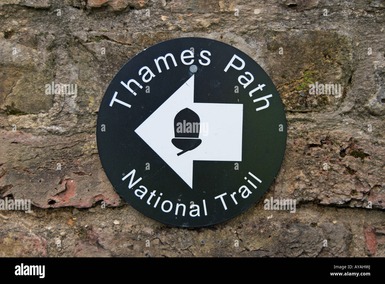 sign for the thames path, on the river thames, and national trail, in twickenham, middlesex, near london, england Stock Photo