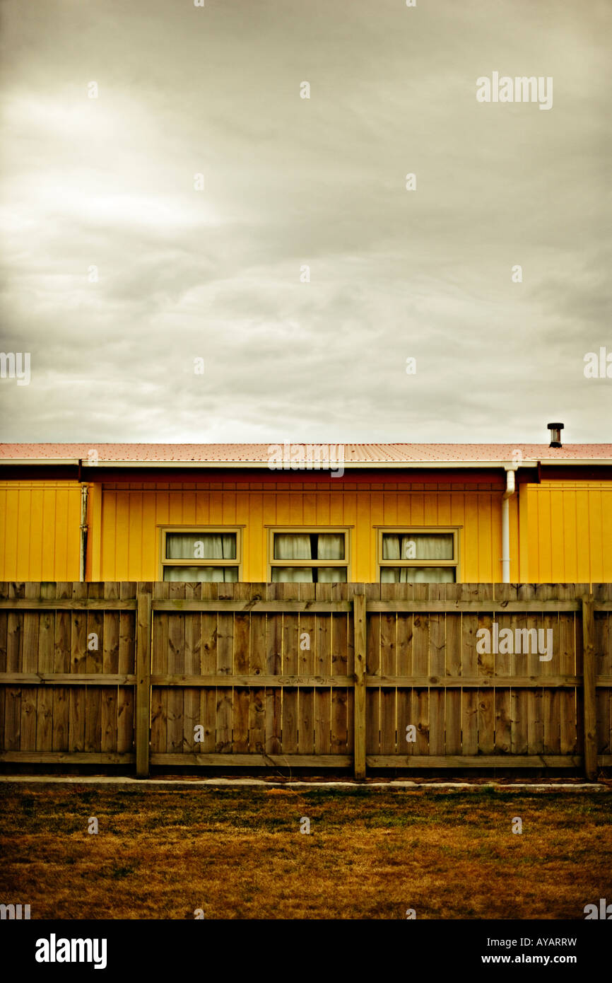 Building and fence Palmerston North New Zealand - Stock Image