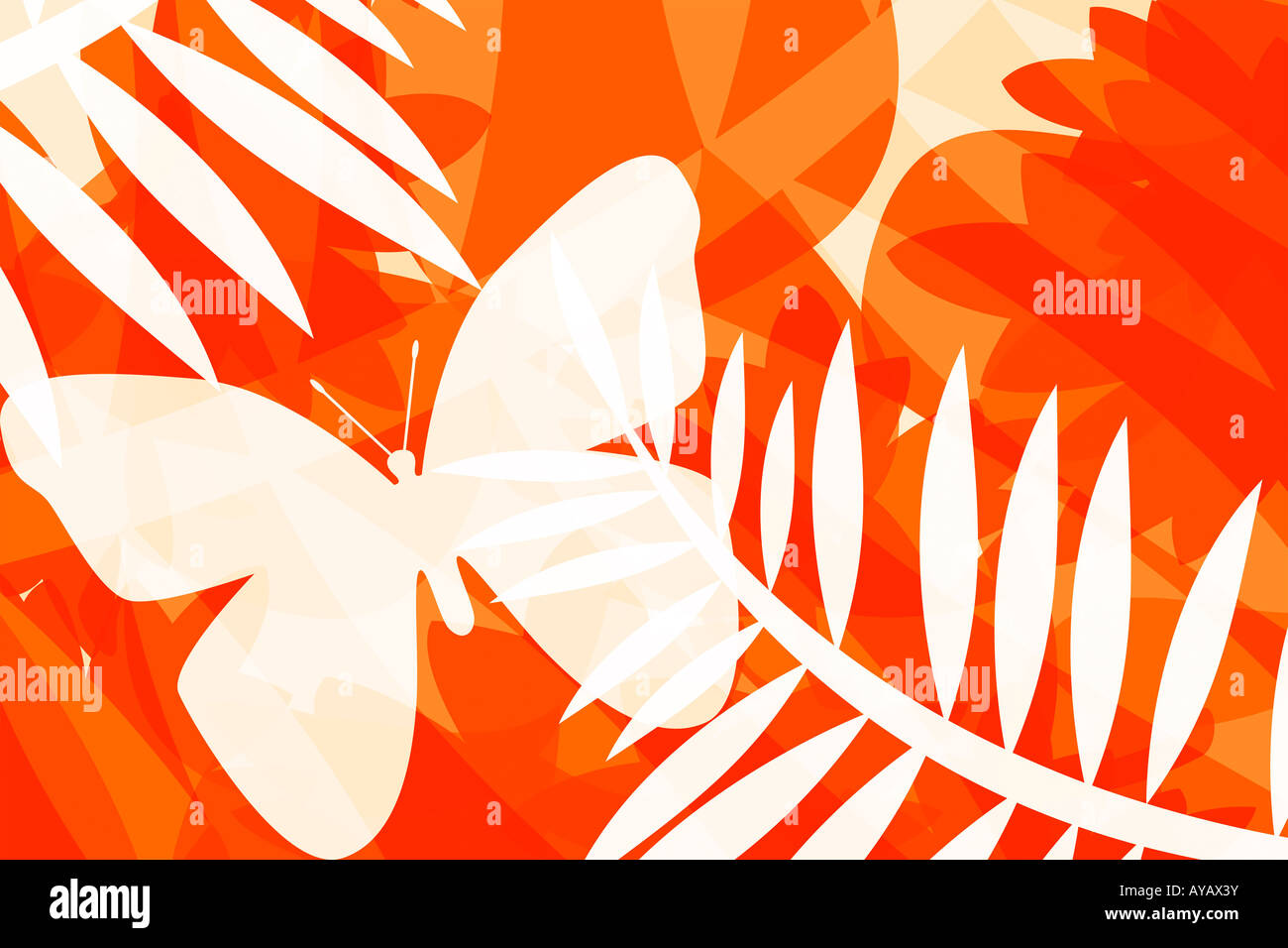 Illustration of butterflies and leaves - Stock Image