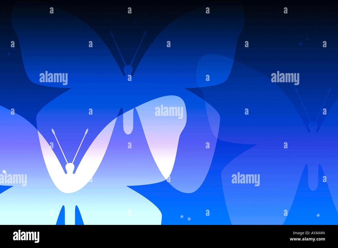 Illustration of butterflies - Stock Image