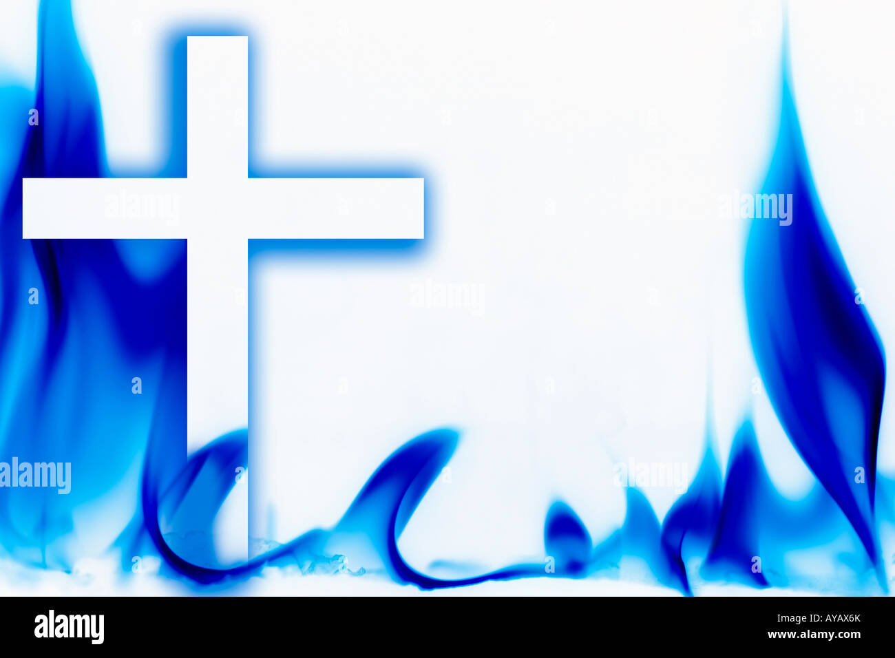 Illustration of fire and the cross - Stock Image