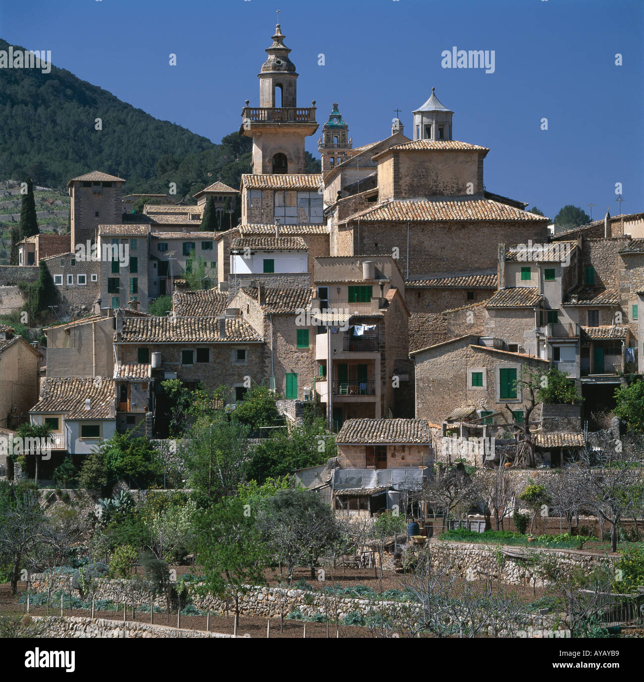 Valldemosa, Mallorca, The Balearic Islands. Hillside town. Stock Photo