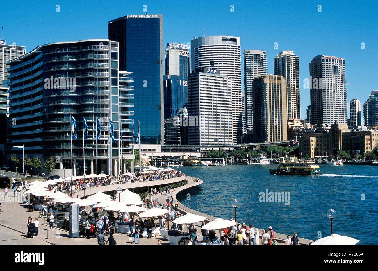 Circular Quay at Sydney Australia on market day Stalls selling decorative and souveniers - Stock Image