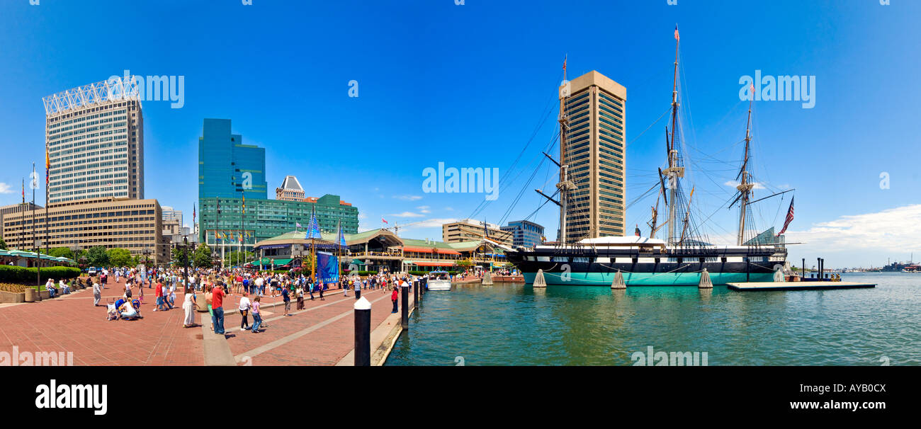 Waterfront buildings at Inner Harbor in Baltimore Maryland on a clear day High resolution panorama - Stock Image