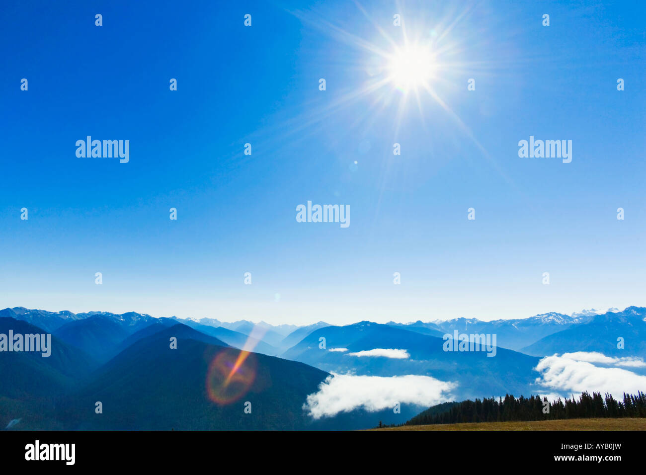 Sun shining over the Olympic mountains as seen from Hurricane Ridge in Olympic National Park Washington State - Stock Image