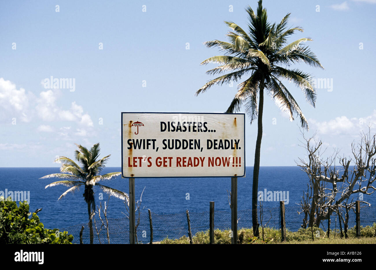Hurricane warning sign in St Kitts in caribbean - Stock Image