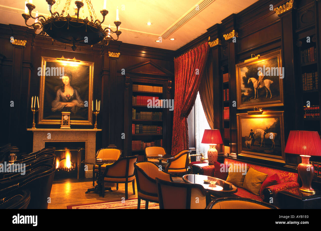 The Library room at the Lanesborough hotel Hyde Park Corner London - Stock Image