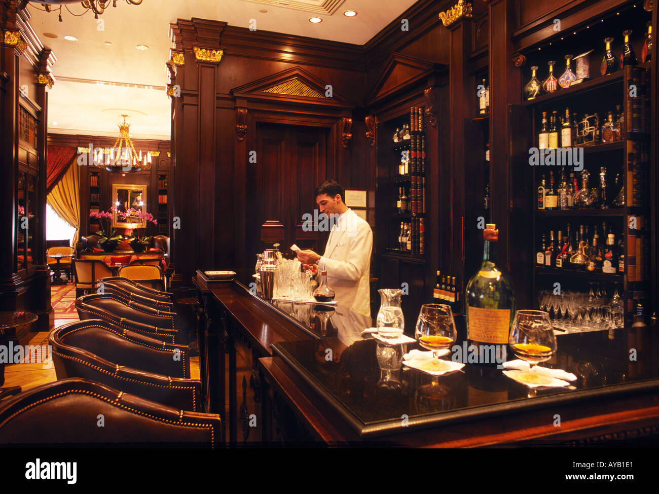 The Library Room Bar at the Lanesborough hotel Hyde Park Corner London Famous for its range of Cognacs - Stock Image
