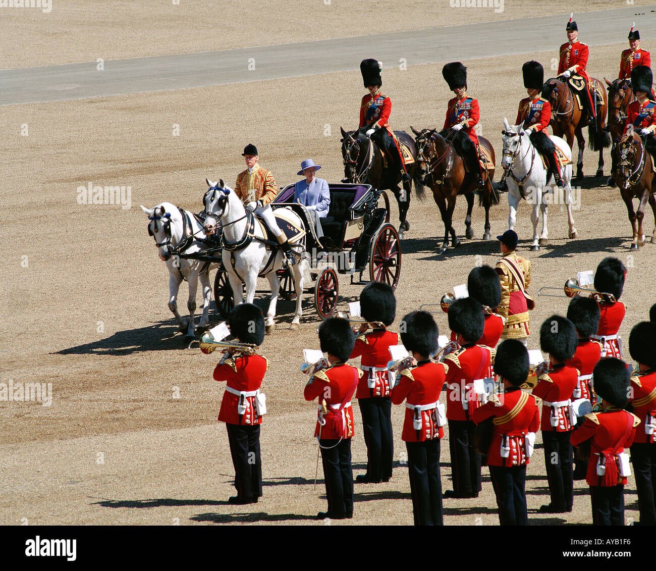 Queen Elizabeth II at The Trooping of theColour at Horseguards Parade London - Stock Image