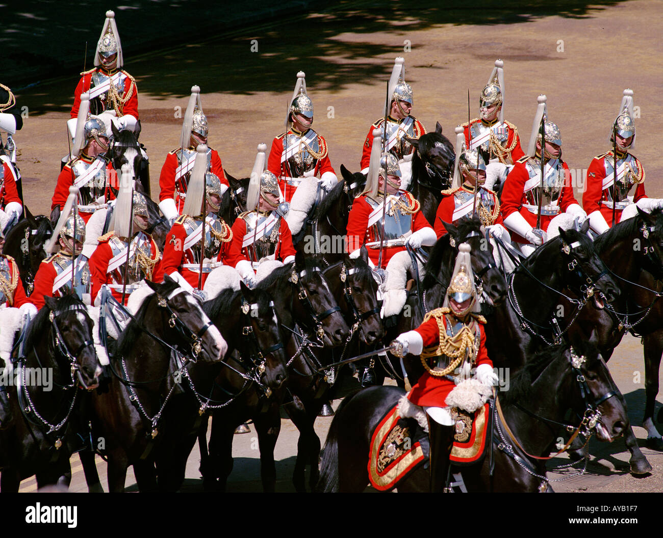 The Household Cavalry at The Trooping of the Colour at Horseguards Parade London - Stock Image