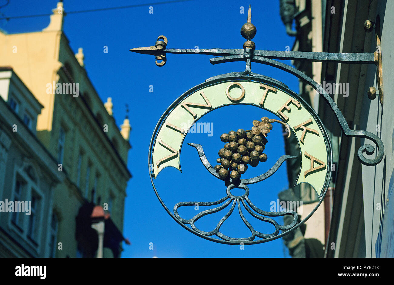 a7a9e83a9dd9 Wine shop sign Celetna Ulice a street in the Old Town or Stare Mesto Prague  -