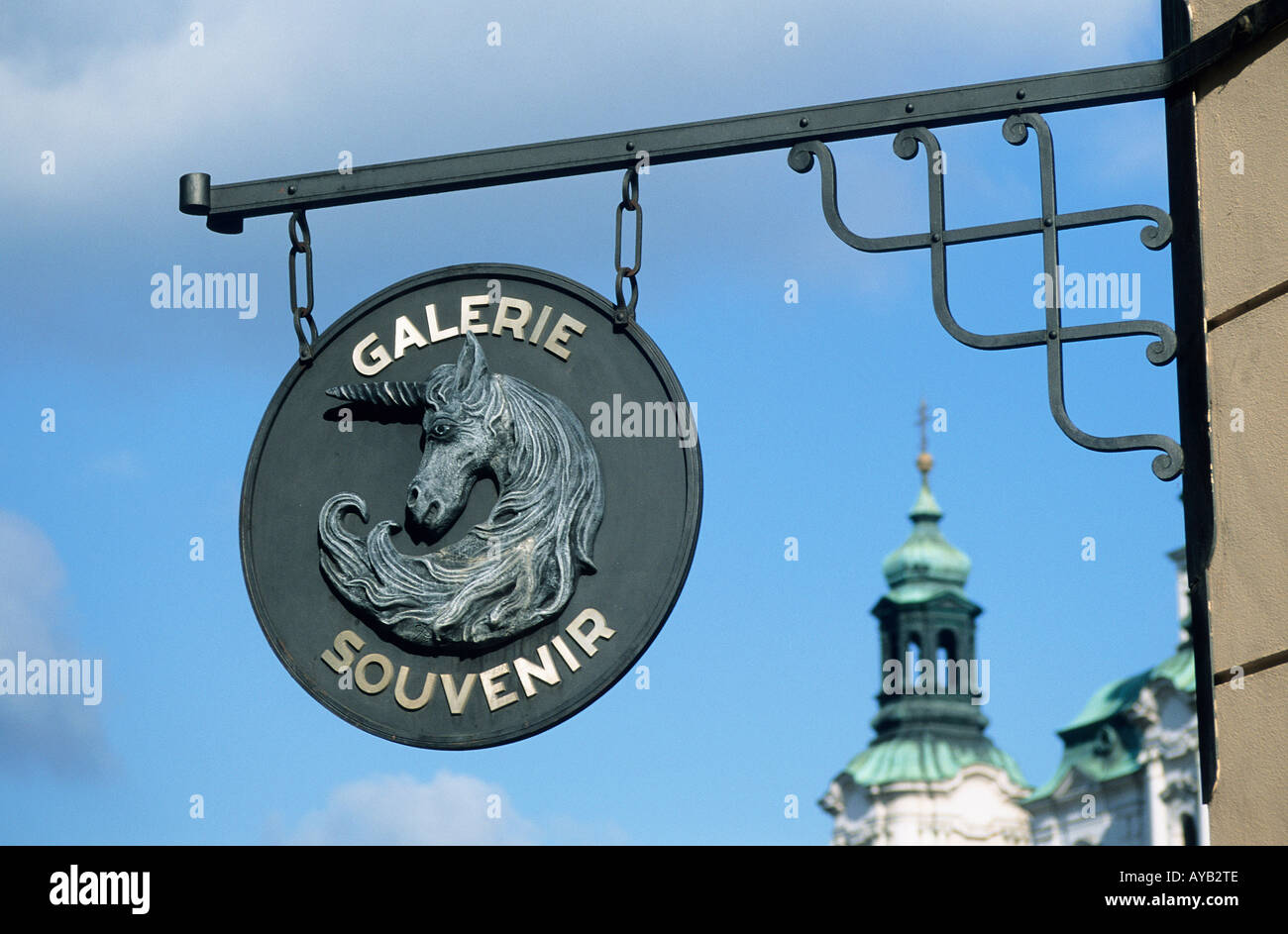 6ca213c391eb Gallery sign Celetna Ulice a street in the Old Town or Stare Mesto - Stock  Image