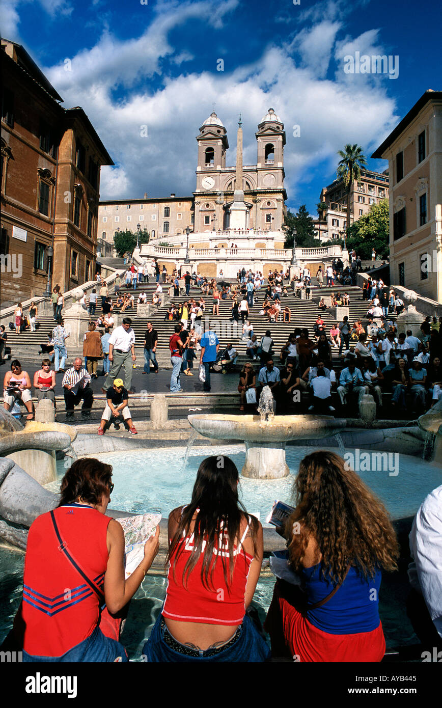spanish steps in rome italy map The Spanish Steps With Tourists Reading A Map Rome Italy Stock
