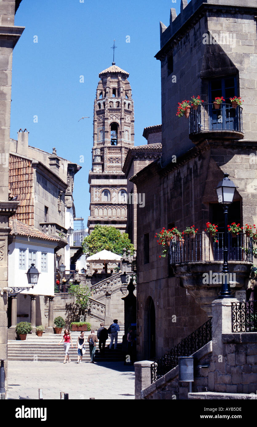 Peublo Espanol - old Spain. Collection of old houses and streets, at an exhibition in Barcelona. - Stock Image