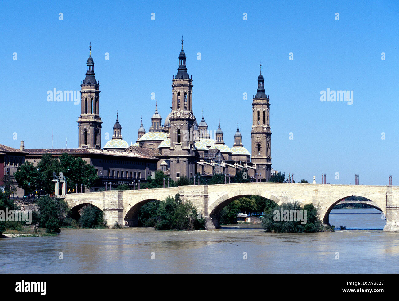 The Basilica Pilar at Zaragoza Spain - Stock Image