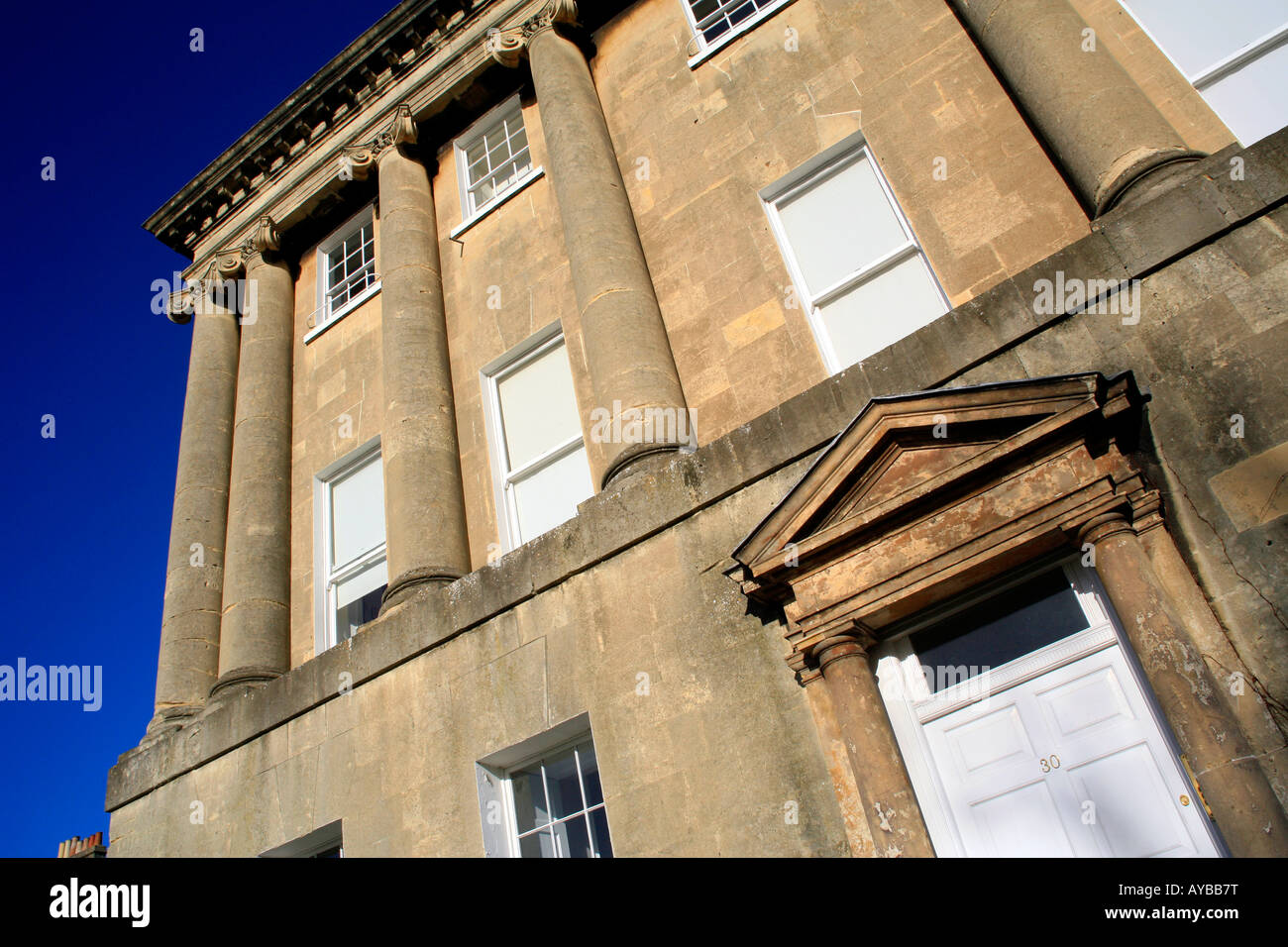 Western end of the world famous Royal Crescent designed by John Wood the Younger, in the city of Bath, Somerset, - Stock Image