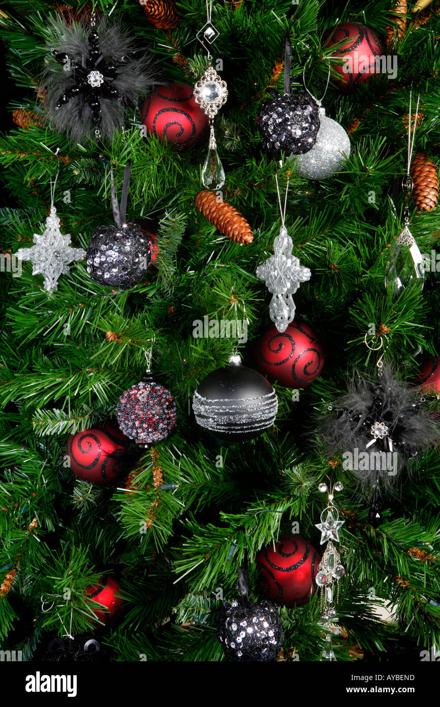 Red Black And Silver Baubles On Christmas Tree Stock Photo Alamy