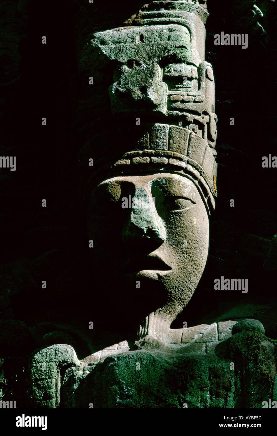Maya ruins of Quiriguá in Guatemala Classic Period close up of head of Stela D representing King Cauac Sky - Stock Image