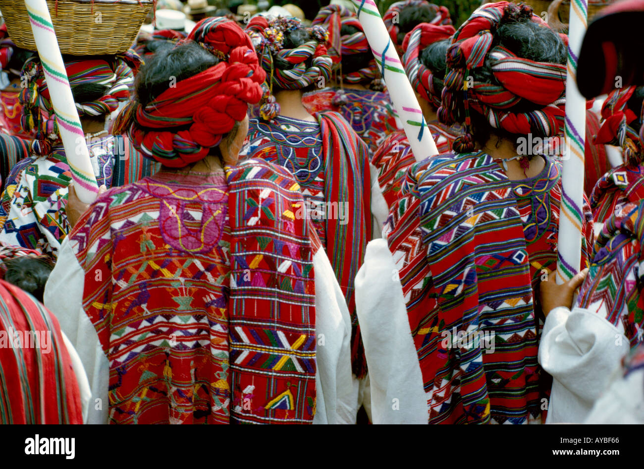 Ixil Mayan Indian women in ceremonial dress in a procession in Nebaj Dept El Quiche Guatemala - Stock Image