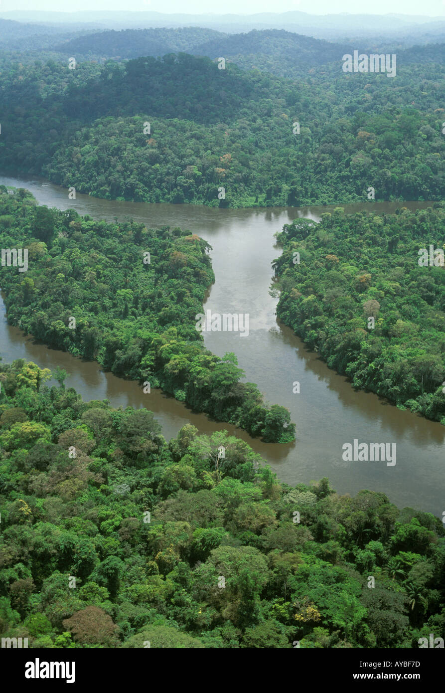 Aerial view of Jari River coming down from Guyana Highlands and lush rainforest in the Amazon region Brazil Para-Amapa - Stock Image